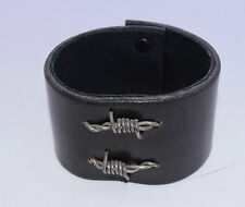 Bracelet Dark Brown Leather Snap Barbed Wire Sterling silver Artisan Made