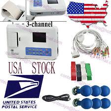 US 3 Channel 12 lead ECG EKG machine+USB PC software Electrocardiograph,ECG300G