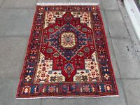Fine Vintage Hand Made Rug Traditional Oriental Wool Red Blue Rug 147x110cm
