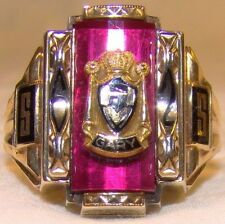 Nice 10 K Yellow Gold Red Stone Classic Style Sz 8 Class Ring Horace Mann 1962