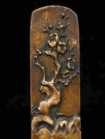 Rarity China Carved Red Copper Wintersweet Seal Or Paperweight