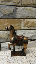 """ANTIQUE 19C CHINESE WOOD HAND CARVED PAINTED HORSE STATUE TEMPLE ELEMENT 12""""H."""