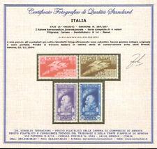 1935 Regno Salone Aeronautico n. 384/387 Cert. Integri