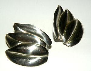 Estate Sterling Silver Celia Sebiri for AVON Three Leaves Post Earrings