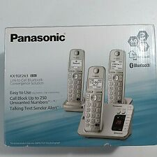 NEW Panasonic Link to Cell Bluetooth KX-TGE263S 3 Handsets Silver