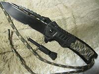 3 in 1 Einhandmesser Paracord M. Firestarter schwarz/oliv Messer Taschenmesser