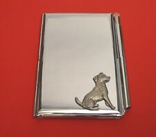 Jack Russell Terrier Motif on Chrome Notebook / Card Holder & Pen Christmas Gift