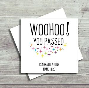 Personalised Exam Congratulations Card GCSE A Level AS Level You Passed Driving