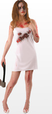 Ladies Adult White Bullet Hole Horror Fancy Dress Costume Woman's Scary Outfit S