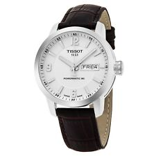 Tissot Men's PRC 200 Brown Leather Strap Day Date Automatic Watch T0554301601700