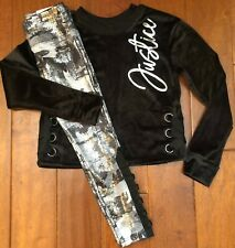 NWT JUSTICE GIRLS 8 10 12 14/16OUTFIT~LACE UP VELOUR TOP/CAMO FOIL MESH LEGGINGS