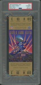 Emmitt Smith HOF Signed 1993 Super Bowl XXVII FULL Ticket PSA PSA/DNA 10 AUTO