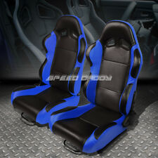 PAIR BLACK CENTER/BLUE FULLY RECLINABLE PVC LEATHER TYPE-R RACING SEATS W/SLIDER