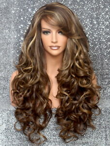 Human Hair Blend Wig Heat OK Curly Long Brown mix Bangs Layered 8-27-613 WBBT