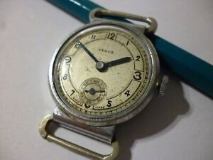 Venus men´s wristwatch 15 Jewels Swiss made Mobile Lugs Military Style As is