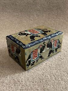 Marble Big Jewelry Box Handicraft Elephant Hand Painted Design Home Gift W15cm
