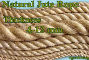 Natural Jute Rope Twine Cord Strand Twisted Braided Decking Garden Boating Sash