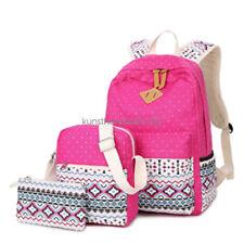 3pcs/Set Backpack Women Canvas Travel Bookbags School Bags for Teenage Girls CA
