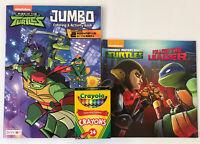 3 TEENAGE MUTANT NINJA TURTLES Jumbo Coloring Activity Book Reading Book Crayons