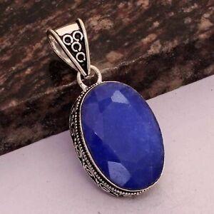 "Blue Sapphire Ethnic Handmade Antique Design Pendant Jewelry 1.8"" AP 38161"