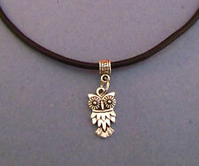 Black Leather Choker Necklace with Silver Owl Charm - New - UK Seller