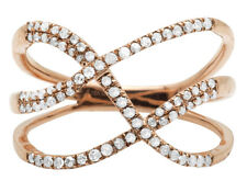 Women's 10K Rose Gold Tangled Rows Pave Genuine Diamond Cocktail Ring 0.33CT