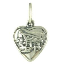 NEW Solid Puffy Log Cabin Heart 925 Sterling Silver Traditional Charm or Pendant