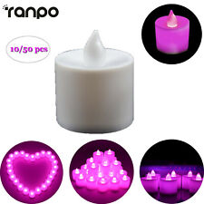 10/50X Mini LED Tea Light Electronic Candle Realistic Pink Purple Flamless HL710