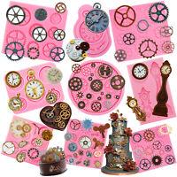 Steampunk Style Gear Cog Watch Wheel Clock Fondant Silicone Mould Set Cake Décor