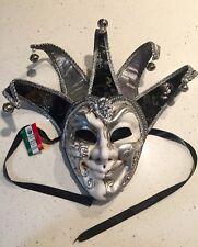 Authentic La Maschera del Galeone Hand Painted Venetian Mask NEW w/tags Silver