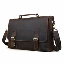 Tiding Men's Vintage Leather Briefcases 15 inch Laptop Bag
