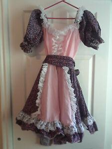 "Hansel & Gretel ""Gretel"" Costume, Peasant Maid, Pink, Purple & White Med Adult"