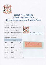 JOE ROBERTS CARDIFF CITY 1935-1936 RARE ORIGINAL HAND SIGNED CUTTING/CARD