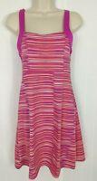 Soybu Dress Size S Pink Orange Stripe Athletic Criss Cross Open Back Shelf Bra