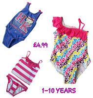 Girls Swimsuit Swimming Costume Swimwear Bikini Tankini Baby Childrens 1-10 Year
