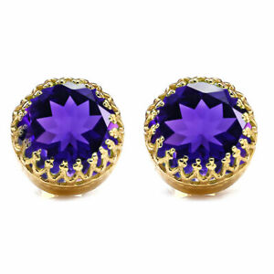 Natural Amethyst Faceted Round Shape 18K Gold Plated Gemstone Purple Earrings