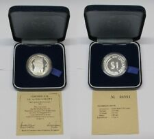 #32: 1977 SINGAPORE $1.00 0.925 FINE PROOF SILVER COIN IN ORIG BOX & COA #06881