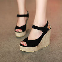 Women's Wedge High Heels Ankle Strap Platform Sandals Summer Peep Toe Shoes New