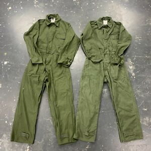Lot Of 2 Military Olive Green Utility Mechanic Coveralls Og 107 Cotton 90s