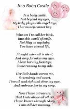 Bereavement Grave Card Baby Castle Memorial Keepsake  child 10 purse size pink