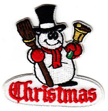 """CHRISTMAS"" SNOWMAN w/ BROOM & BELL- Iron On Embroidered Patch-Holiday, Winter"