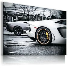 LAMBORGHINI AVENTADOR WHITE SILVER Sports Cars Wall Art Canvas AU514 MATAGA
