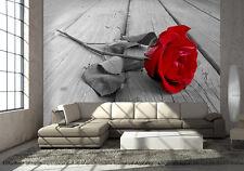 RED ROSE - BLACK & WHITE - Wall Mural photo Wallpaper FLOWER modern wallcovering