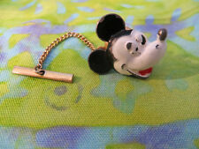 "VINTAGE 1"" MICKEY MOUSE TIE TACK W/ GOLD CHAIN AND BAR."