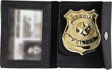 Black Leather Law Enforcement Badge & ID Holder