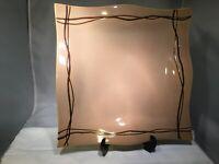 "STUDIO NOVA MYSTIC COVE BEIGE PLATTER HA104 12"" SQUARE STONEWARE BROWN LINES A+"