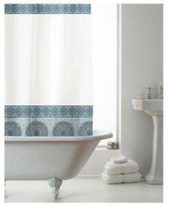 Shower Curtain- Waterproof- With Rings 180x180cm (approx)- PEVA- Mandela Blue