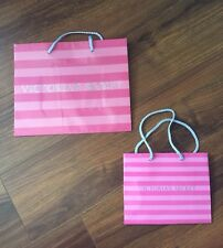 TWO Victoria's Secret Shopping Gift Paper Bags Iconic Stripe