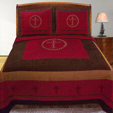 Western Quilt Design Cross Barb Wire Bedspread Comforter Sham 3 Piece RED Queen
