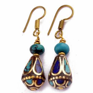 Turquoise Lapis Earrings Hypoallergenic Tibetan Ethnic Handmade Nepal ERB03C